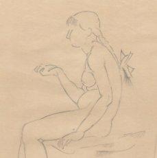 Arte: DIBUJO ORIGINAL DE ENRIC C. RICART DE 1918 VILANOVA Y LA GELTRÚ. MUJER DESNUDA SENTADA CON TRENZA. Lote 162823830