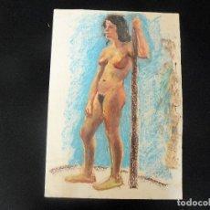 Arte: DIBUJO REALIZADO A CERAS - ANÓNIMO - DESNUDO FEMENINO - . Lote 162853690