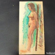 Arte: DIBUJO REALIZADO A CERAS - ANÓNIMO - DESNUDO FEMENINO - . Lote 162859818