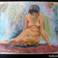 Arte: DIBUJO REALIZADO A CERAS - ANÓNIMO - DESNUDO FEMENINO - . Lote 162891870