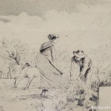 Arte: PAREJA DE CAMPESINOS. DIBUJO A TINTA SOBRE PAPEL. FIRMADO JOAN BAIXAS. ESPAÑA. 1892. Lote 162905030