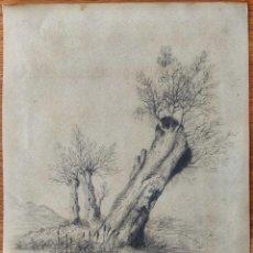 Arte: MARAVILLOSO PAISAJE ORIGINAL A LAPIZ, POSIBLEMENTE REALIZADO ENTRE 1850-1870, GRAN CALIDAD. Lote 163033162