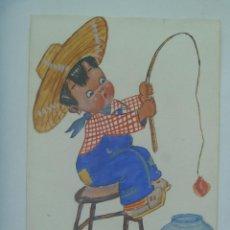 Arte: GRACIOSO DIBUJO DE NIÑO PESCANDO. EL PUERTO DE SANTA MARIA , 1940. FIRMADO. Lote 163305946