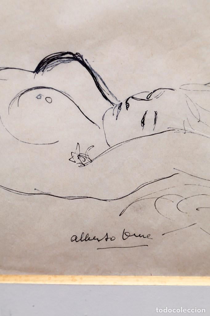 ALBERTO DUCE - DIBUJO A TINTA - DESNUDO TUMBADO (Arte - Dibujos - Contemporáneos siglo XX)