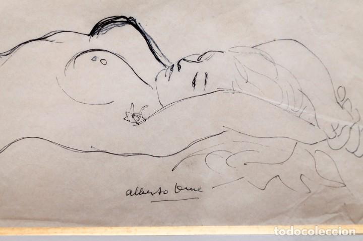 Arte: ALBERTO DUCE - DIBUJO A TINTA - DESNUDO TUMBADO - Foto 4 - 163391206