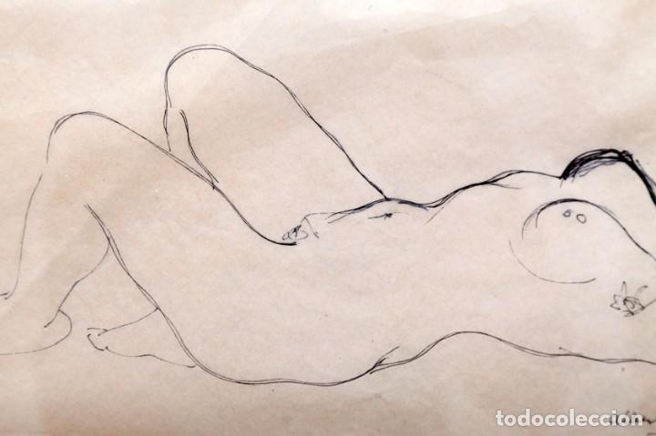 Arte: ALBERTO DUCE - DIBUJO A TINTA - DESNUDO TUMBADO - Foto 5 - 163391206