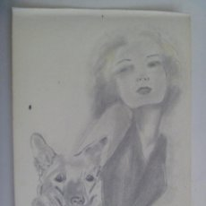 Arte - BONITO DIBUJO DE MUJER CON PERRO. PUERTO REAL , 1940. FIRMADO - 163461070