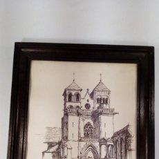 Arte: G.LATATTERIE. BEVRIER. 1975. EGLISE ABBATIALE DE SOUVIGNY. TINTA SOBRE PAPEL.. Lote 163465118