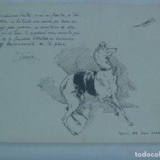 Arte: BONITO DIBUJO A PLUMILLA DE PERRO GALGO . MADRID , 1942. Lote 163569066