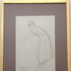 Arte: DIONÍS BAIXERAS VERDAGUER (BARCELONA, 1862 - 1943) DIBUJO A CARBON DE UNA SEÑORA. Lote 163585122