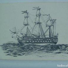 Arte: BONITO DIBUJO DE UN BARCO VELERO . PUERTO REAL , 1942. FIRMADO. Lote 163586422