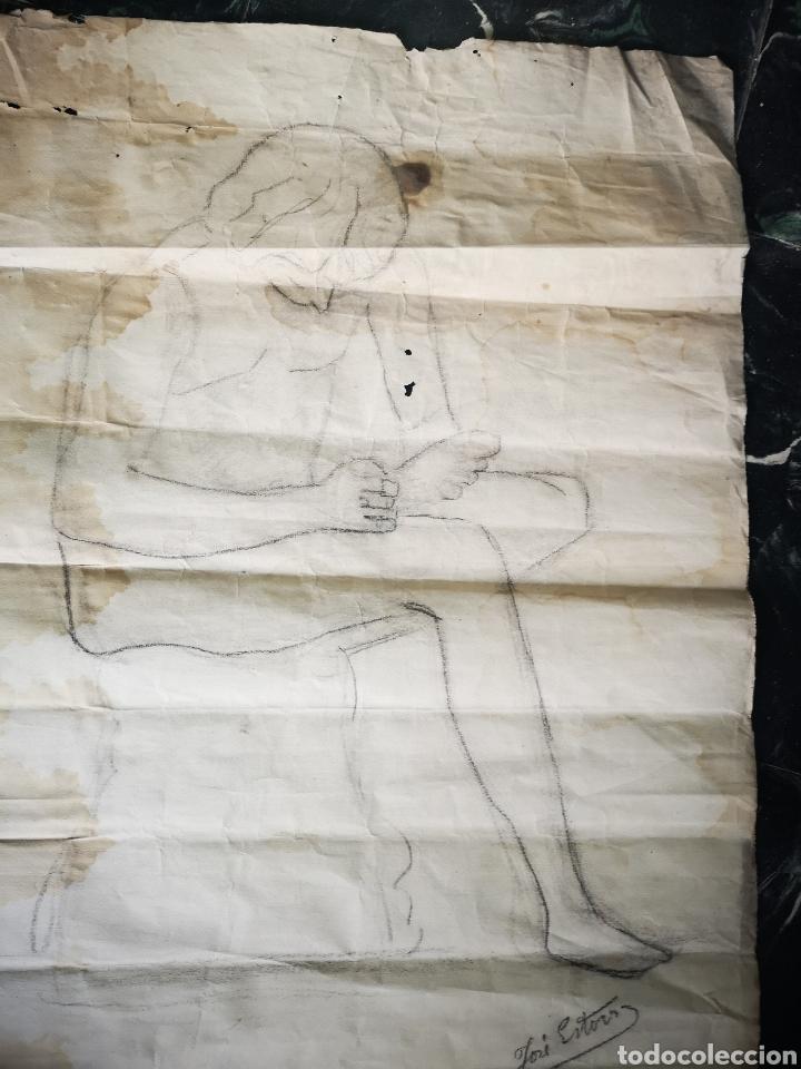 Antiguo Dibujo Académico Estudio De Cuerpo 63x50cm Papel Con Marca De Agua