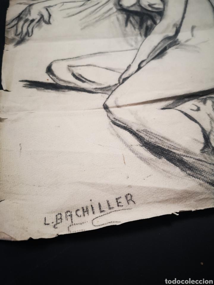 Arte: Antiguo dibujo a lapiz, carboncillo, desnudo femenino. Firmado 48x34 - Foto 2 - 163614002