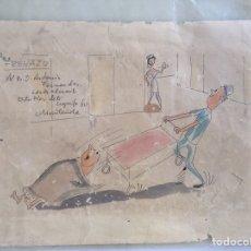 Art: MUNTAÑOLA DIBUJO CÓMIC CHISTE ORIGINAL CON DEDICATORIA 1960. Lote 163749544