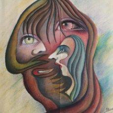Arte: DIBUJO SURREALISTA, COMPOSICIÓN DE RETRATOS, FIRMADO Y FECHADO. 32X50CM. Lote 163755632