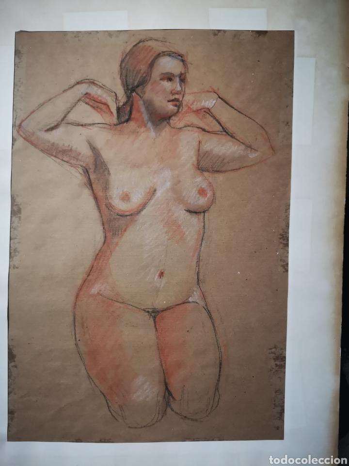 EXCELENTE DESNUDO A CARBONCILLO Y SANGUINA, ANÓNIMO. 49X35CM (Arte - Dibujos - Contemporáneos siglo XX)