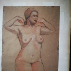 Arte: EXCELENTE DESNUDO A CARBONCILLO Y SANGUINA, ANÓNIMO. 49X35CM. Lote 163802286
