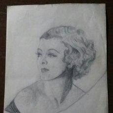 Arte: DIBUJO A LÁPIZ DE LA CARA DE UNA MUJER. FIRMADO POR CARMEN SOLER. FECHADO EL 14-12-1937. Lote 163984174