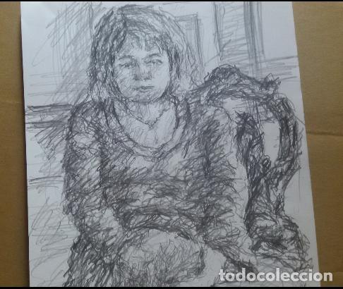 Arte: Dibujo chica sentada original - Foto 2 - 164581610