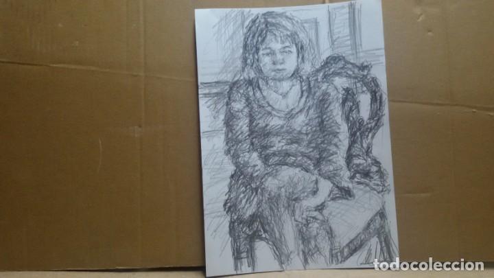 Arte: Dibujo chica sentada original - Foto 3 - 164581610