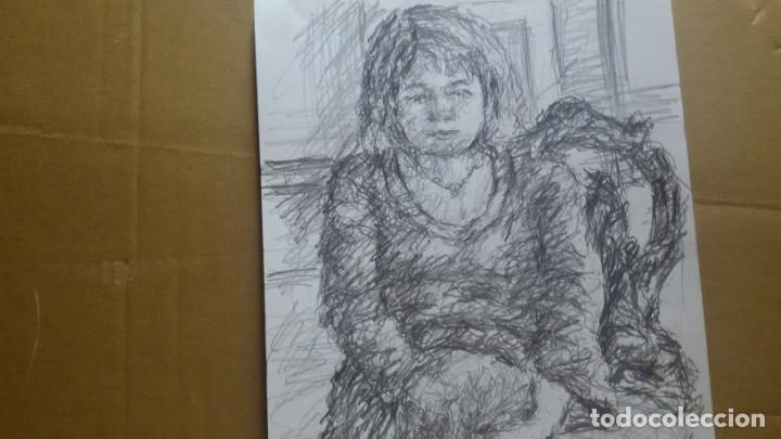 Arte: Dibujo chica sentada original - Foto 4 - 164581610