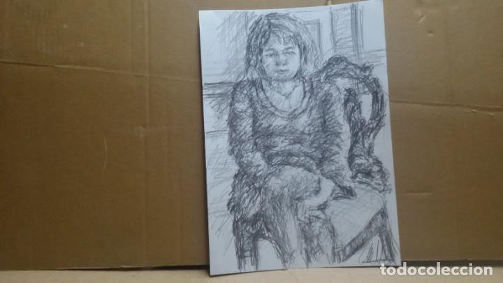 Arte: Dibujo chica sentada original - Foto 5 - 164581610