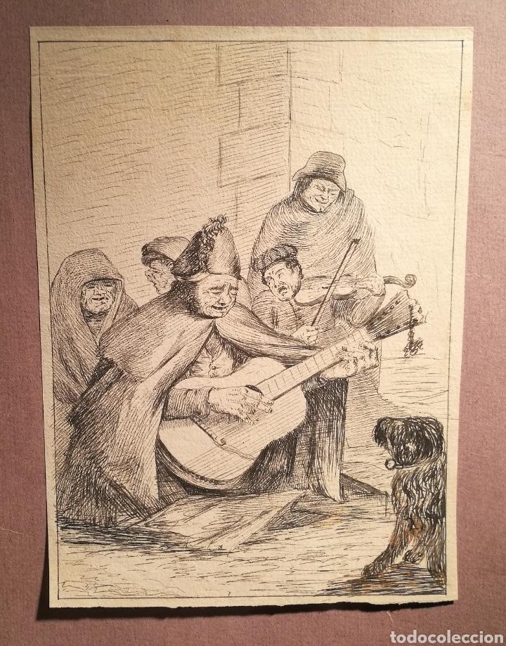 MÚSICOS CALLEJEROS. CÍRCULO DE FRANCISCO GOYA. (Arte - Dibujos - Modernos siglo XIX)