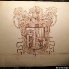 Arte: ARMAS Y BLASONES DE LOS APELLIDOS RUIZ Y BARRERA. S.XVII. Lote 164610337