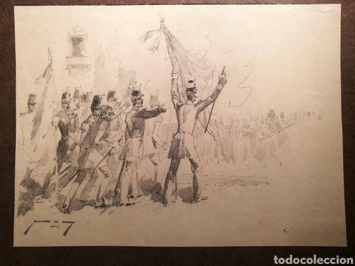 ESCENA BÉLICA POR MARCELINO DE UNCETA (1835-1905) (Arte - Dibujos - Modernos siglo XIX)