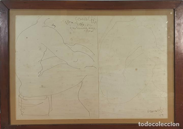 DESNUDO MASCULINO. DIBUJO AL CARBÓN SOBRE PAPEL. FIRMA ILEGIBLE. 1969. (Arte - Dibujos - Contemporáneos siglo XX)