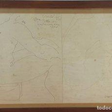 Arte: DESNUDO MASCULINO. DIBUJO AL CARBÓN SOBRE PAPEL. FIRMA ILEGIBLE. 1969.. Lote 165314986