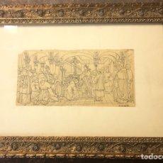 Arte: DIBUJO ANTIGUO A PLUMILLA FIRMADO MEDIDAS 9X18 CON MARCO 32X22. Lote 165465561