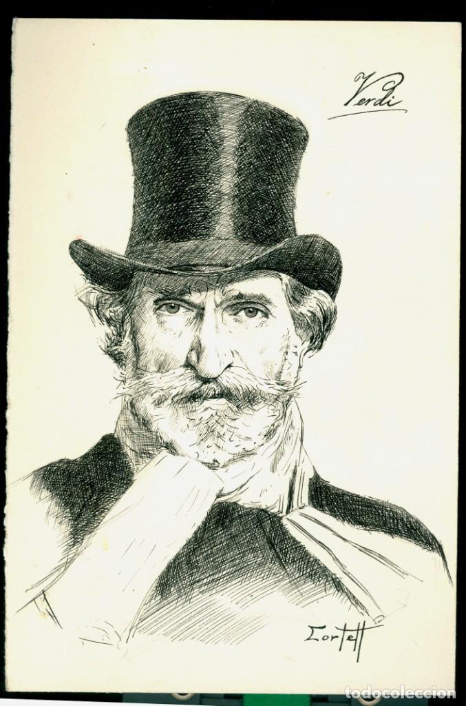 VERDI - DIBUJO TINTA - FIRMADO (Arte - Dibujos - Modernos siglo XIX)