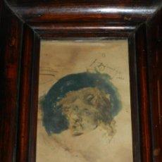 Arte: (M) FRANCESCO DOMINGO MARQUÉS - DIBUJO ORIGINAL FECHADO 1888, ENMARCADO DE ÉPOCA. Lote 165603450