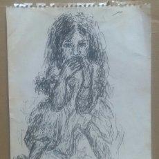 Arte: DIBUJO RETRATO NIÑA ORIGINAL. Lote 165756056