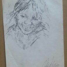 Arte: DIBUJO RETRATO NIÑA FELIZ ORIGINAL. Lote 165759988
