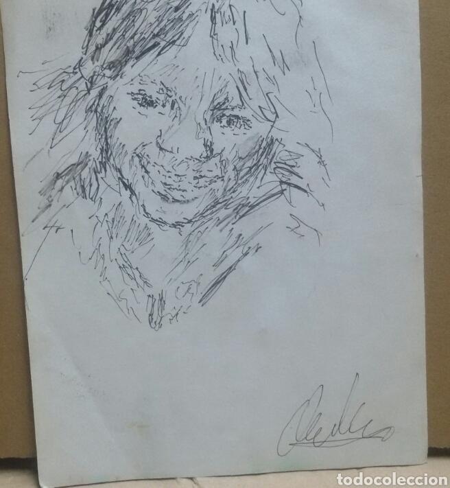 Arte: Dibujo retrato niña feliz original - Foto 2 - 165759988