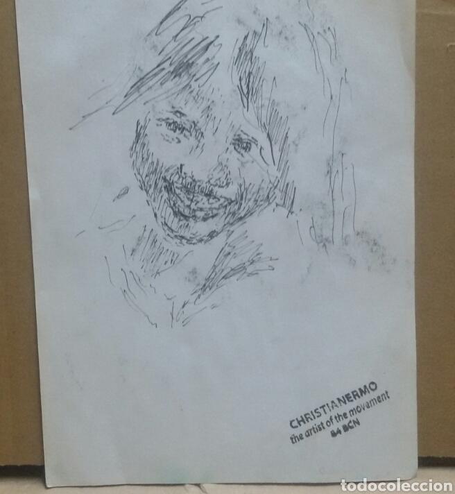 Arte: Dibujo retrato niña feliz original - Foto 3 - 165759988