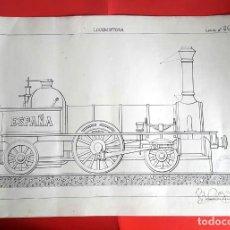 Arte: FERROCARRIL - LOCOMOTORA ESPAÑA - 1920'S - DIBUJO TINTA . Lote 165866694