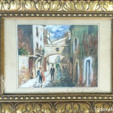 Arte: CALLE DE ASES. BARCELONA. ACUARELA ABRE PAPEL. SIN FIRMAR DEDICADO. SIGLO XIX.. Lote 165916694