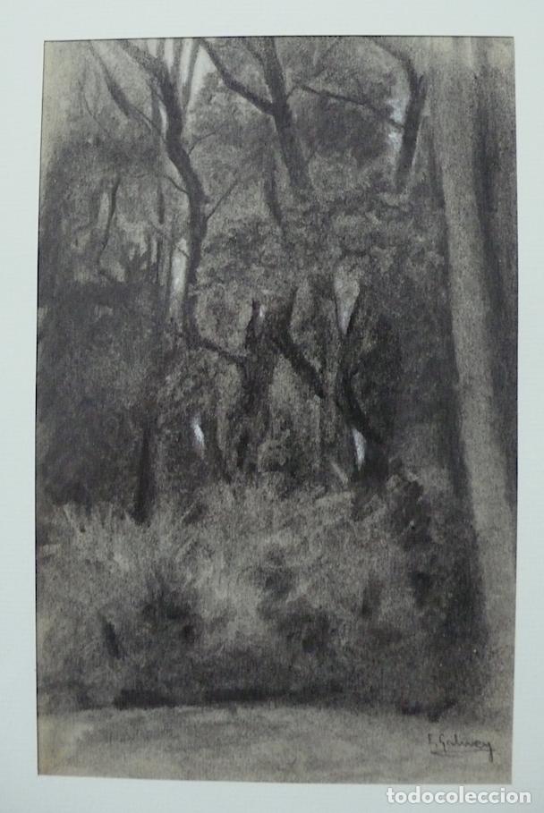 Arte: GALWEY, DIBUJO ORIGINAL CARBONCILLO Y TIZAS BLANCAS, FIRMADO - Foto 3 - 165980674