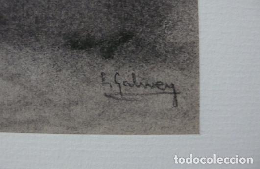 Arte: GALWEY, DIBUJO ORIGINAL CARBONCILLO Y TIZAS BLANCAS, FIRMADO - Foto 4 - 165980674
