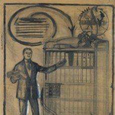 Arte: CARBONCILLO Y TINTA SOBRE PAPEL LIBRERO FIRMADO GALLACH MEDIADOS SIGLO XX. Lote 166011906
