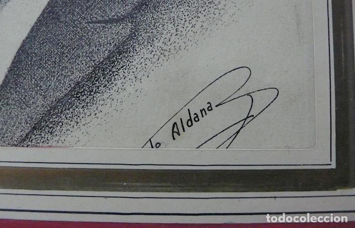 Arte: ALDANA, DIBUJO TINTA RETRATO HOMBRE FIRMADO - Foto 3 - 166209046