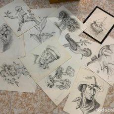 Arte: LOTE DE DIBUJOS ORIGINALES SOBRE PAPEL, LA MAYORIA TAMAÑO FOLIO APROX. FIRMADOS POR EL AUTOR. Lote 166267558