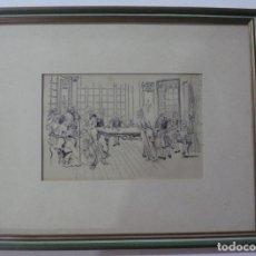 Arte: DIBUJO TINTA ESCENA ANTIGUA, FIRMADA ---TIAZZO. Lote 166900404