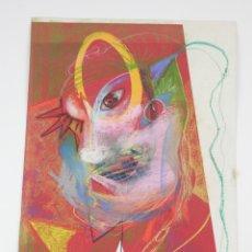 Arte: RETRATO SURREALISTA, CERAS SOBRE CARTULINA, FECHADO 1990, FIRMA ILEGIBLE. 54,5X37,5CM. Lote 167296892