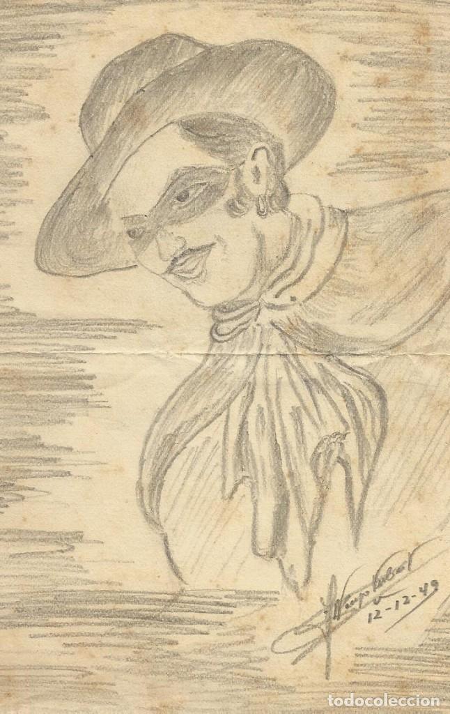 ALFONSO TUBERT. DIBUJO ORIGINAL A LÀPIZ. EL ZORRO. 12-12-1949. FIRMADO A MANO. 16,5X12 CM. (Arte - Dibujos - Contemporáneos siglo XX)