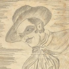Arte: ALFONSO TUBERT. DIBUJO ORIGINAL A LÀPIZ. EL ZORRO. 12-12-1949. FIRMADO A MANO. 16,5X12 CM. . Lote 167459564