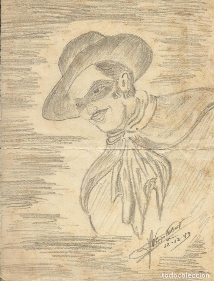 Arte: Alfonso Tubert. Dibujo original a làpiz. El zorro. 12-12-1949. Firmado a mano. 16,5x12 cm. - Foto 2 - 167459564